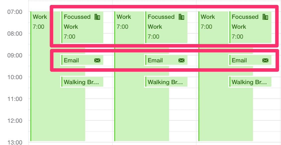 focussed work scheduled on calendar