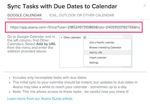 asana calendar sync v2