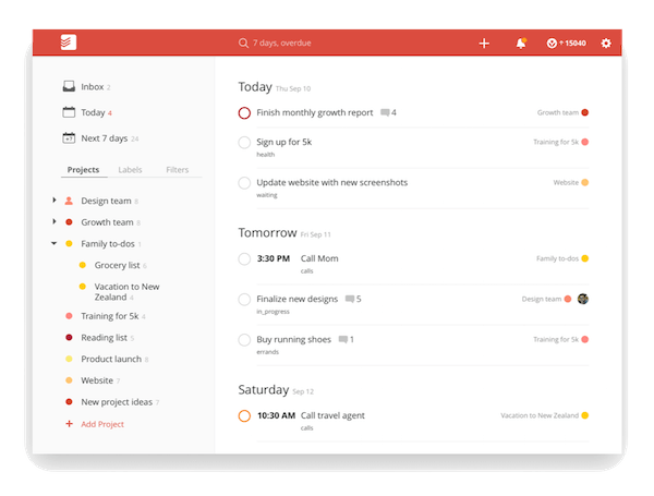 todoist project templates - task management apps highbrow