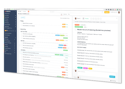 Asana tilted screenshot
