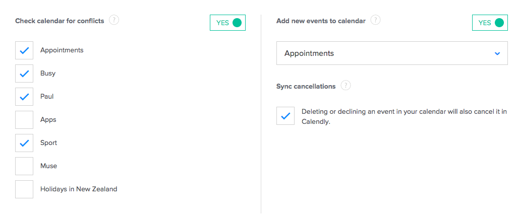 Calendly settings