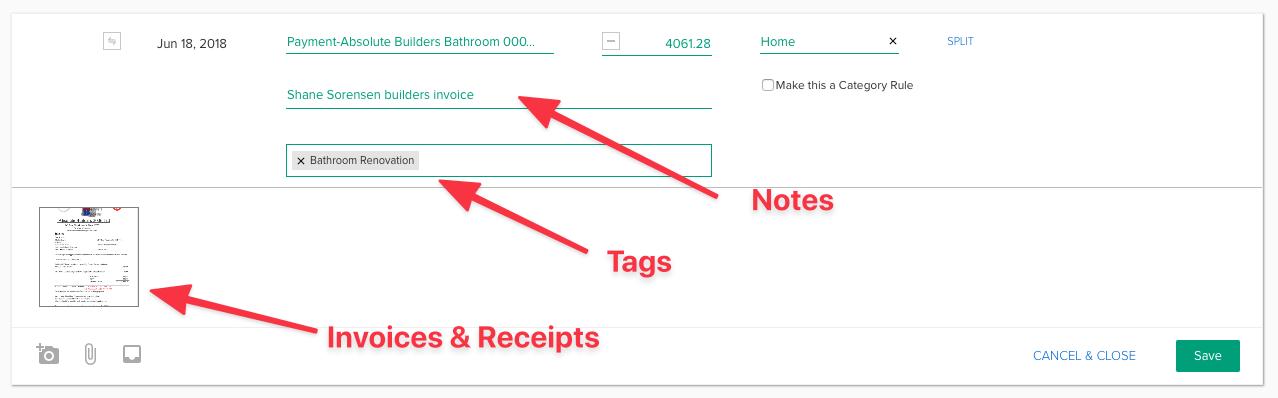 pocketsmith notes tags and files